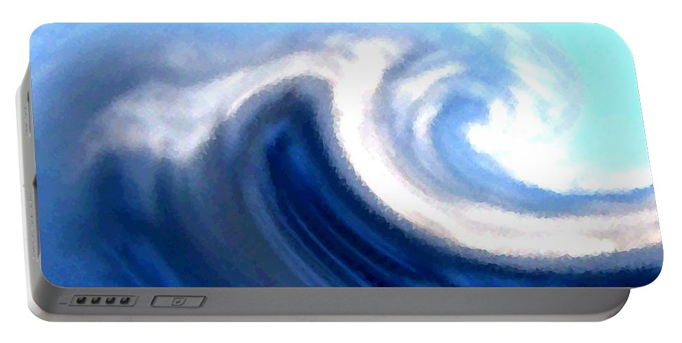 Abstract Portable Battery Charger featuring the digital art Raging Sea by Will Borden