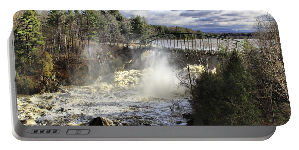 Falls Portable Battery Charger featuring the photograph Raging Water by Deborah Benoit