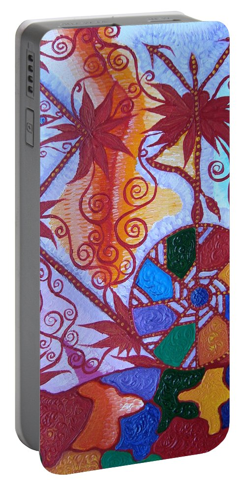 Symbol Portable Battery Charger featuring the painting Raido, Rhytm , Dance by Joanna Pilatowicz
