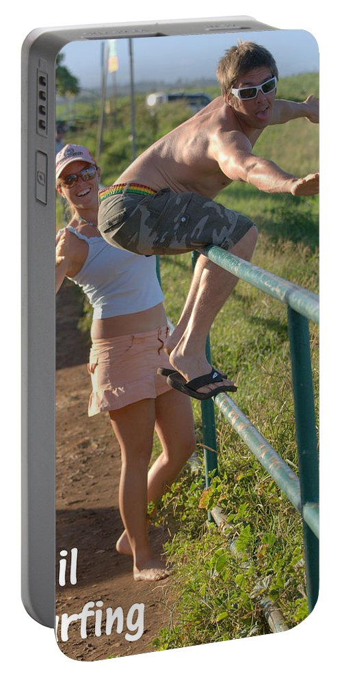Surfing Portable Battery Charger featuring the photograph Rail Surfing by Thomas Sexton