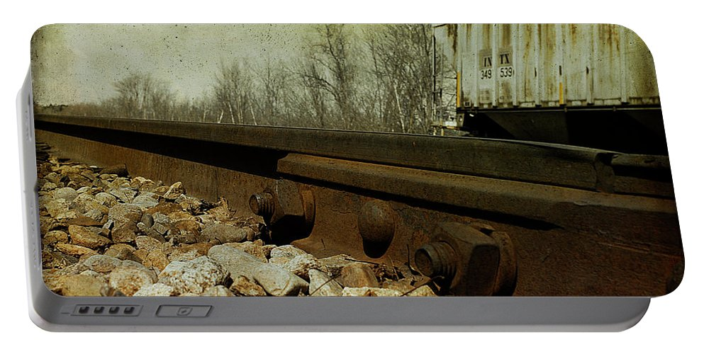 Railroad Portable Battery Charger featuring the photograph Railroad Bolts by Cindi Ressler