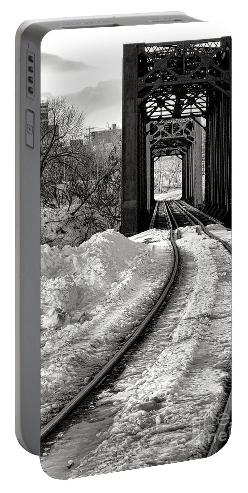 Rail Portable Battery Charger featuring the photograph Railroad Bridge In Winter by Olivier Le Queinec