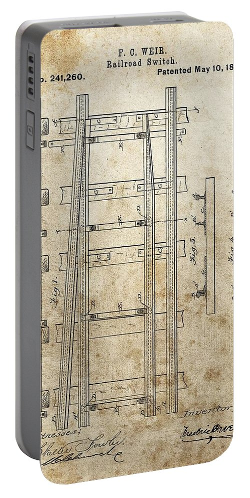 Railroad Switch Patent Portable Battery Charger featuring the drawing Railroad Switch Patent by Dan Sproul