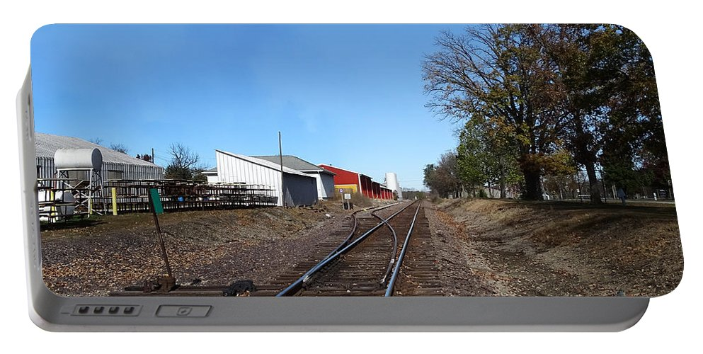 Illinois Portable Battery Charger featuring the photograph Railroad Tracks Switch Station by Theresa Campbell
