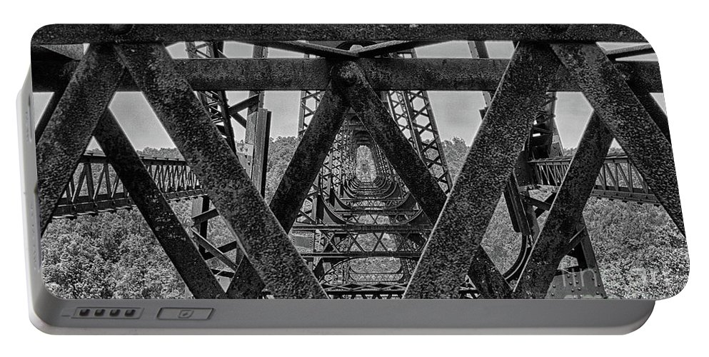 Panoramic Abstract Portable Battery Charger featuring the photograph Railroad Trestle Panoramic 2 by Tom Gari Gallery-Three-Photography