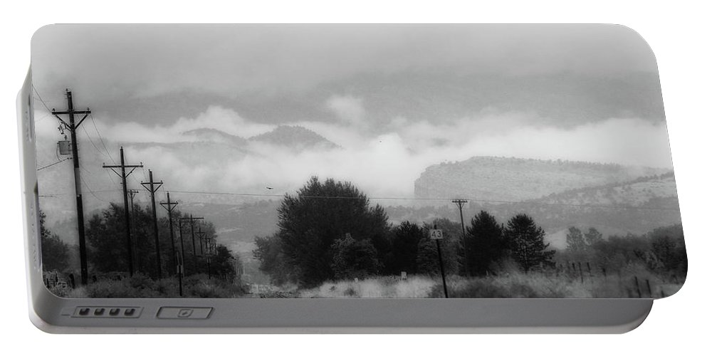 Trains Portable Battery Charger featuring the photograph Railway Into The Clouds Bw by James BO Insogna