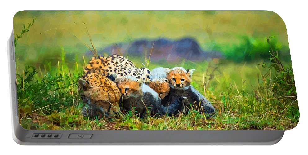 English Setter Portable Battery Charger featuring the digital art Rain Again by Don Kuing