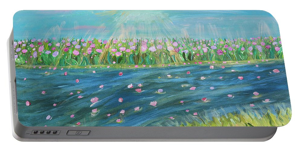 Landscape Portable Battery Charger featuring the painting Rain And Shine by Sara Credito