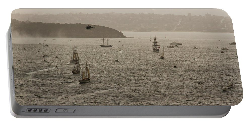International Navy Fleet Review Portable Battery Charger featuring the photograph Rain And Wind Wont Stop Us by Miroslava Jurcik