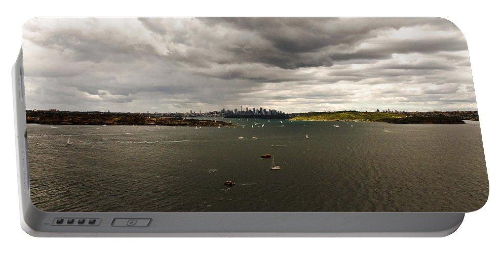 Navy Fleet Review Portable Battery Charger featuring the photograph Rain Arrives Before Tall Ships by Miroslava Jurcik