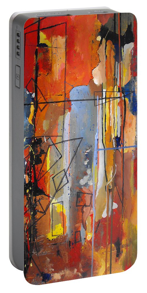 Abstract Portable Battery Charger featuring the painting Rain Down by Ruth Palmer