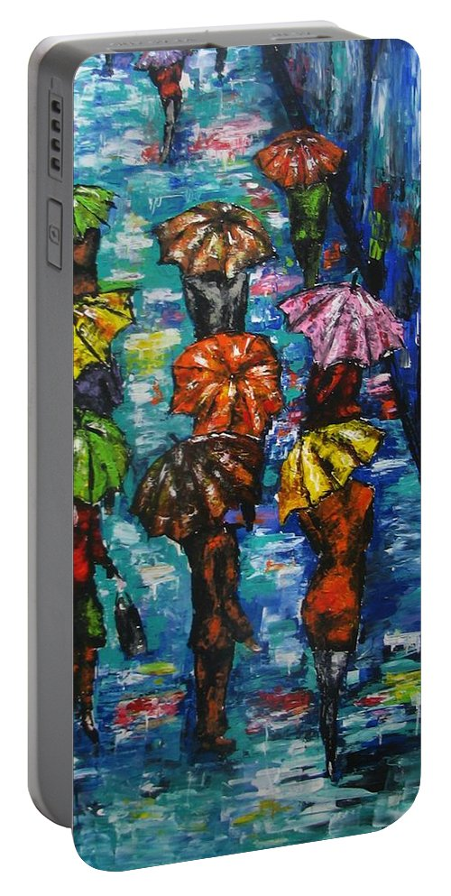 Rain Portable Battery Charger featuring the painting Rain Fantasy Acrylic Painting by Natalja Picugina