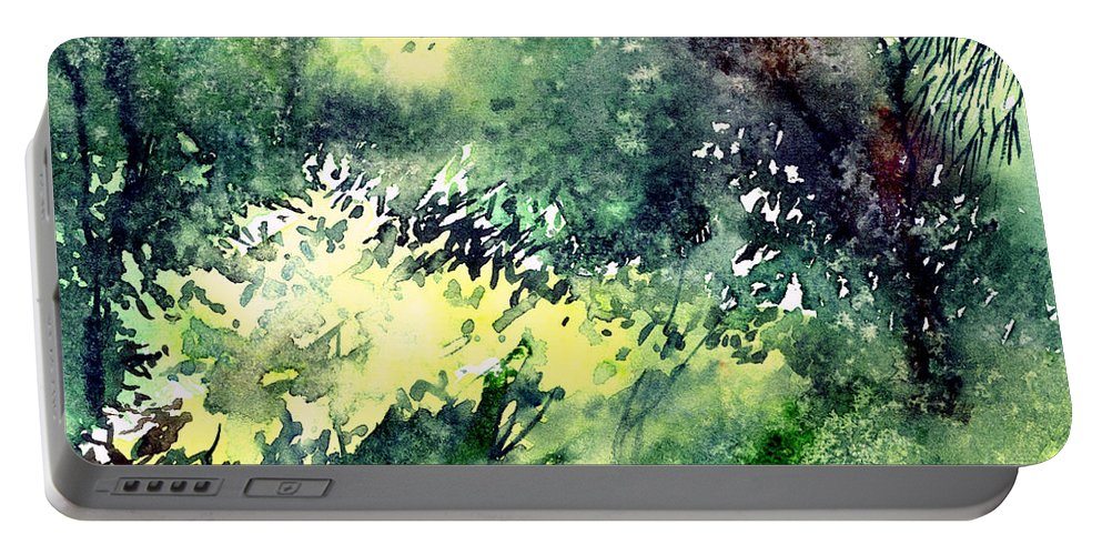 Landscape Watercolor Nature Greenery Rain Portable Battery Charger featuring the painting Rain Gloss by Anil Nene