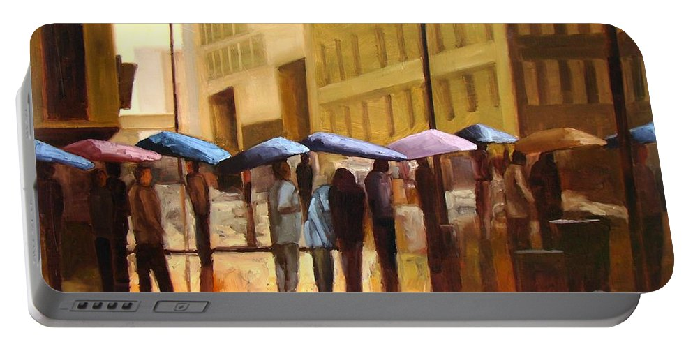 Cityscape Portable Battery Charger featuring the painting Rain in Manhattan number seventeen by Tate Hamilton