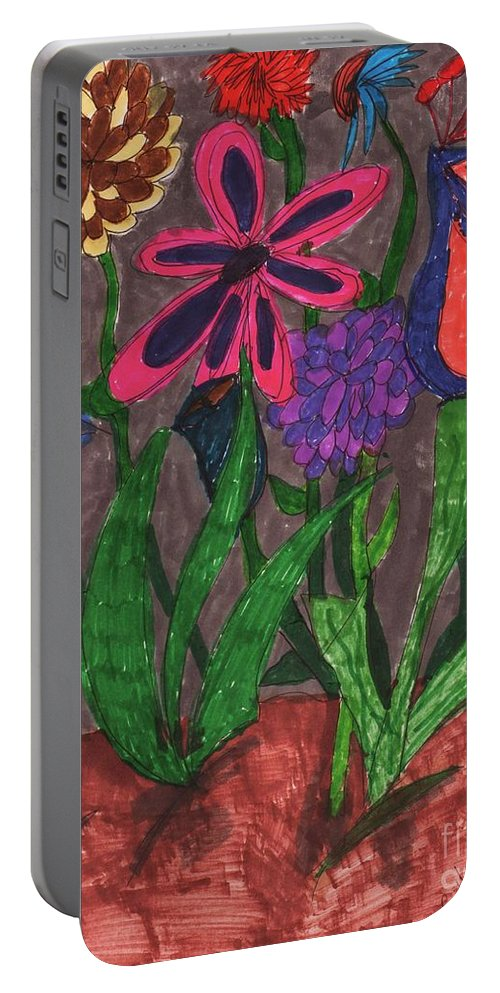 Different Kinds Of Unusual Looking Flowers Portable Battery Charger featuring the mixed media Rain In The Night Sky by Elinor Rakowski
