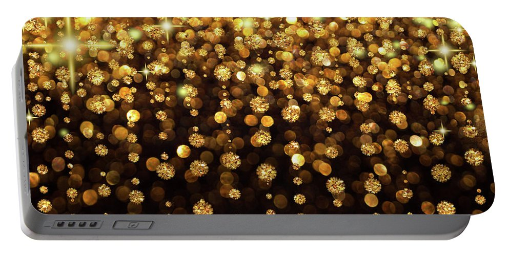 Glitter Portable Battery Charger featuring the digital art Rain Of Lights Christmas Or Party Background by Lucy Baldwin