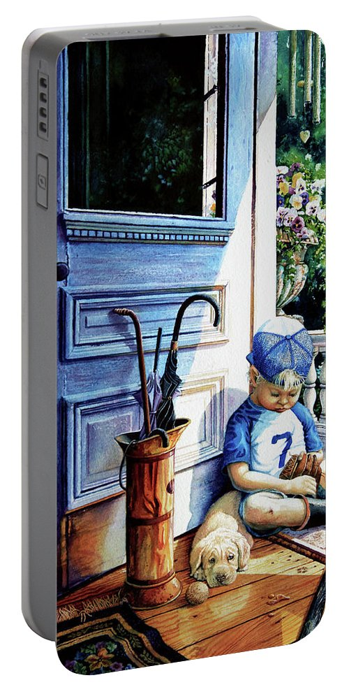 Child Baseball Portable Battery Charger featuring the painting Rain Rain Go Away by Hanne Lore Koehler