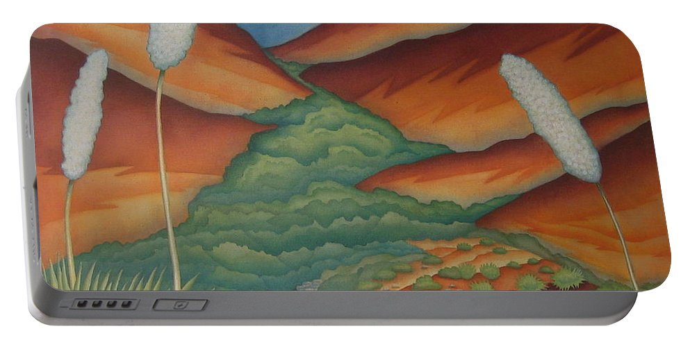 Landscape Portable Battery Charger featuring the painting Rain Trail by Jeniffer Stapher-Thomas