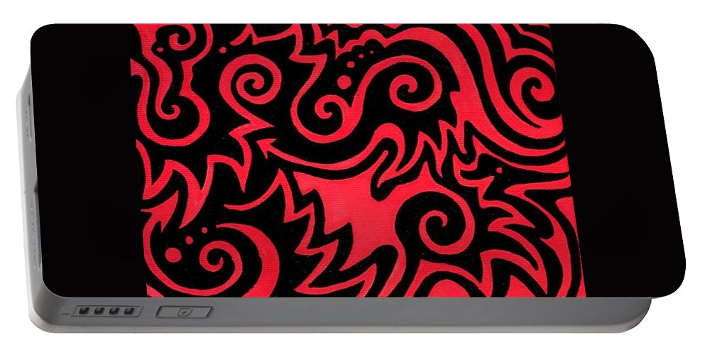 Red Portable Battery Charger featuring the painting Rainbow Abstract 1 Of 6 by Mandy Shupp