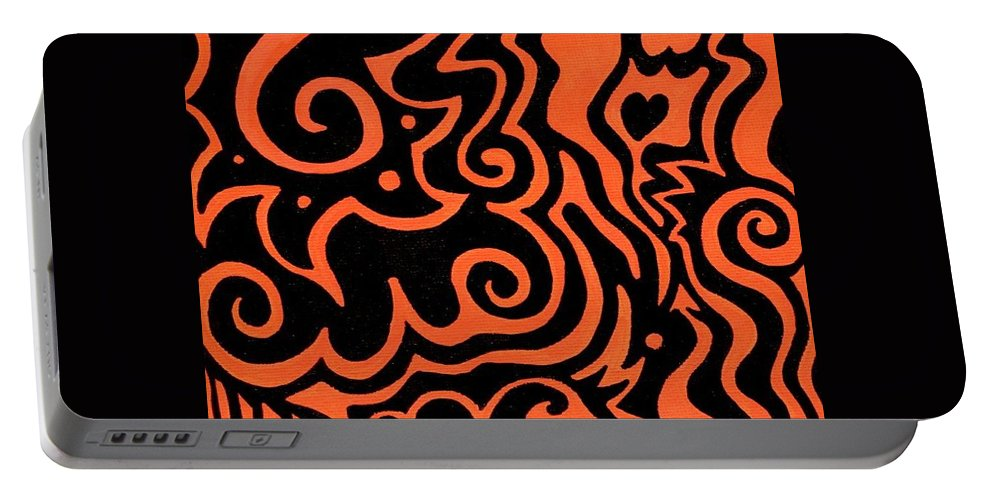 Orange Portable Battery Charger featuring the painting Rainbow Abstract 2 Of 6 by Mandy Shupp