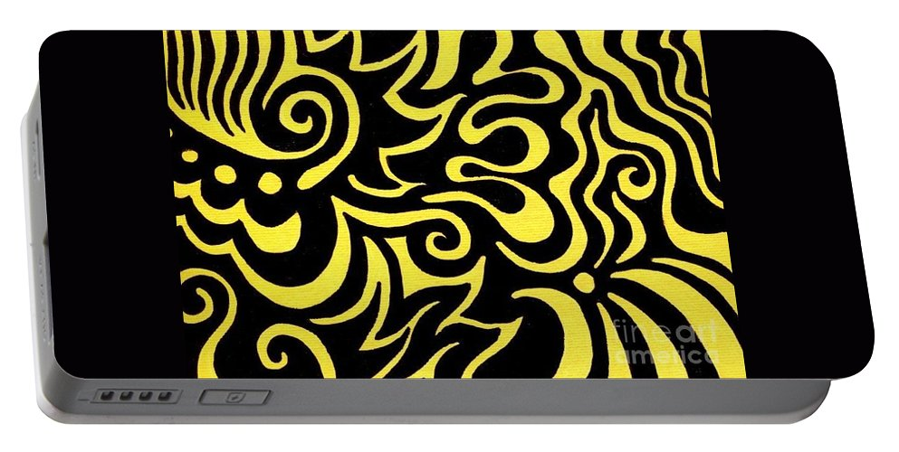 Yellow Portable Battery Charger featuring the painting Rainbow Abstract 3 Of 6 by Mandy Shupp