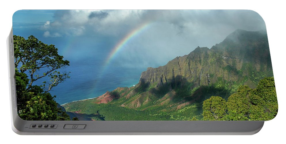 Landscape Portable Battery Charger featuring the photograph Rainbow At Kalalau Valley by James Eddy