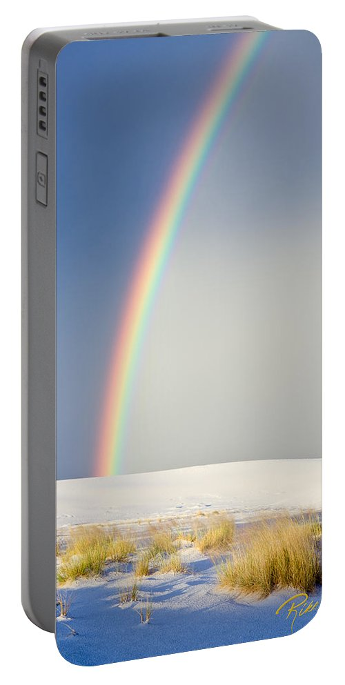 Atmosphere Portable Battery Charger featuring the photograph Rainbow At White Sands by Rikk Flohr