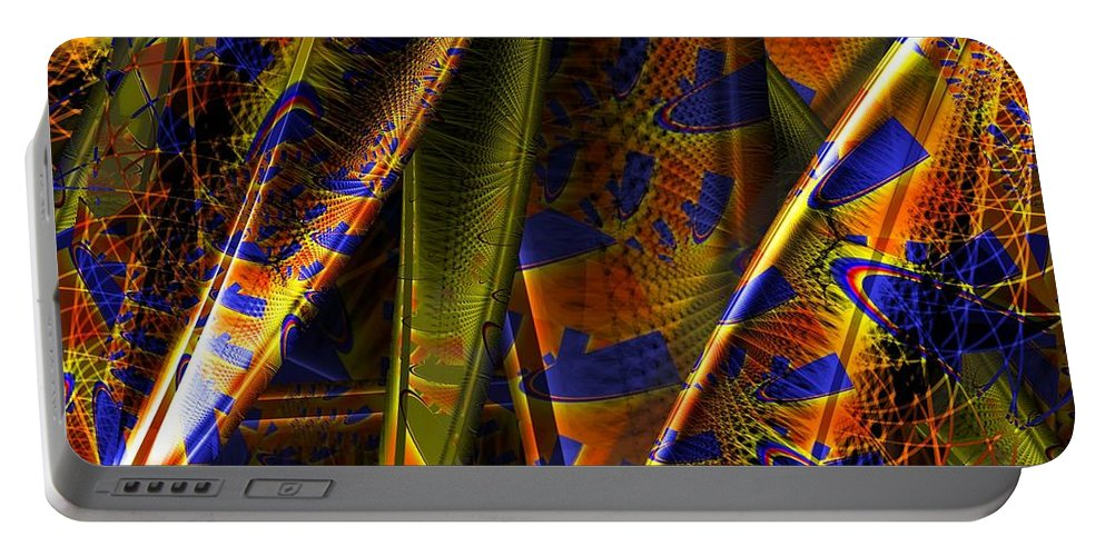 Rainbow Portable Battery Charger featuring the digital art Rainbow Baleen Stack by Ron Bissett