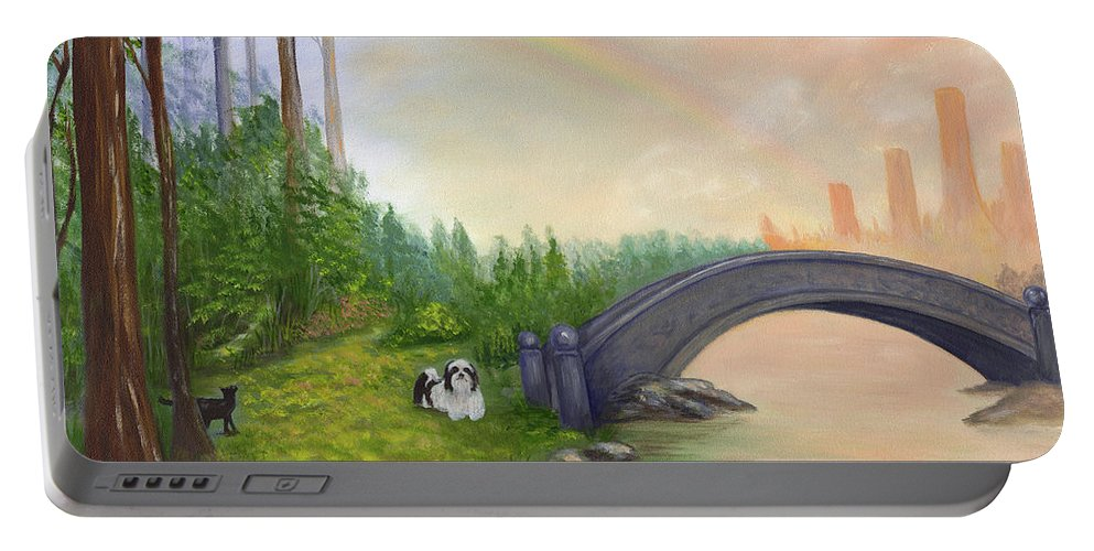 Pet Remembrance Portable Battery Charger featuring the painting Rainbow Bridge by Anne Kushnick
