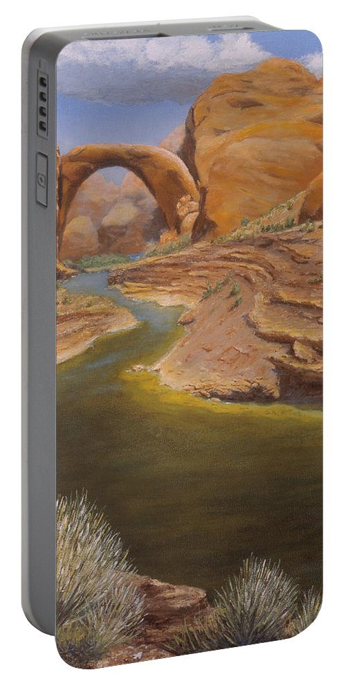 Rainbow Bridge Portable Battery Charger featuring the painting Rainbow Bridge by Jerry McElroy