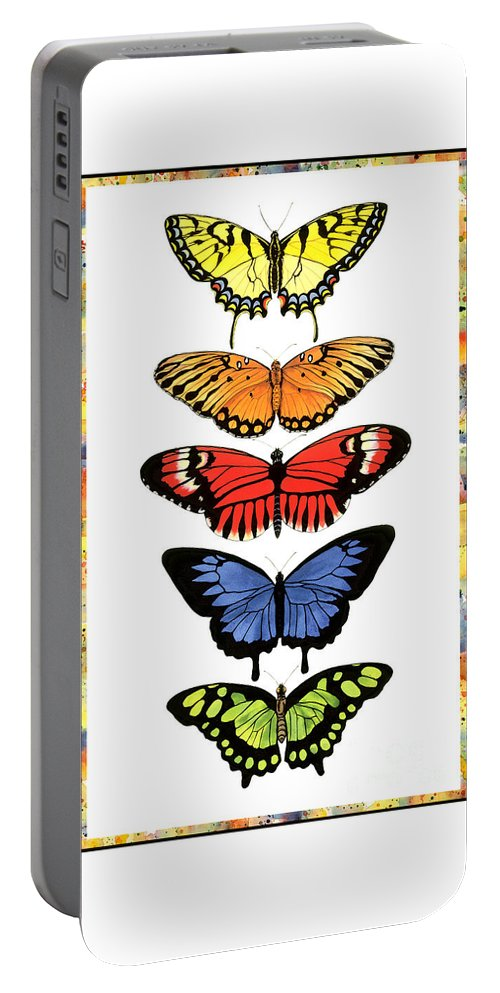 Butterflies Portable Battery Charger featuring the painting Rainbow Butterflies by Lucy Arnold
