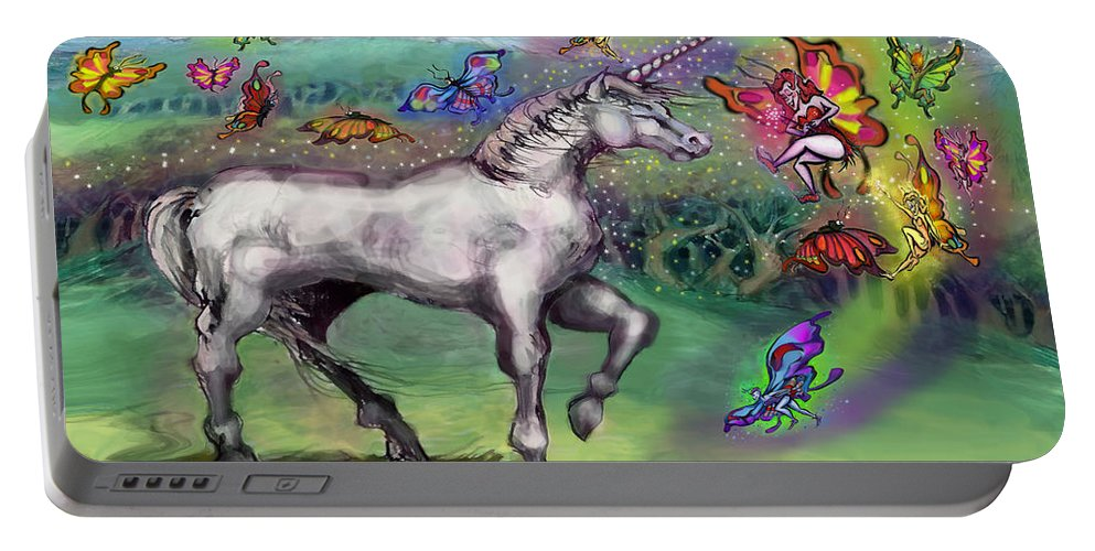 Rainbow Portable Battery Charger featuring the painting Rainbow Faeries And Unicorn by Kevin Middleton