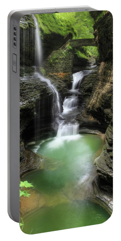 Waterfall Portable Battery Charger featuring the photograph Rainbow Falls by Lori Deiter