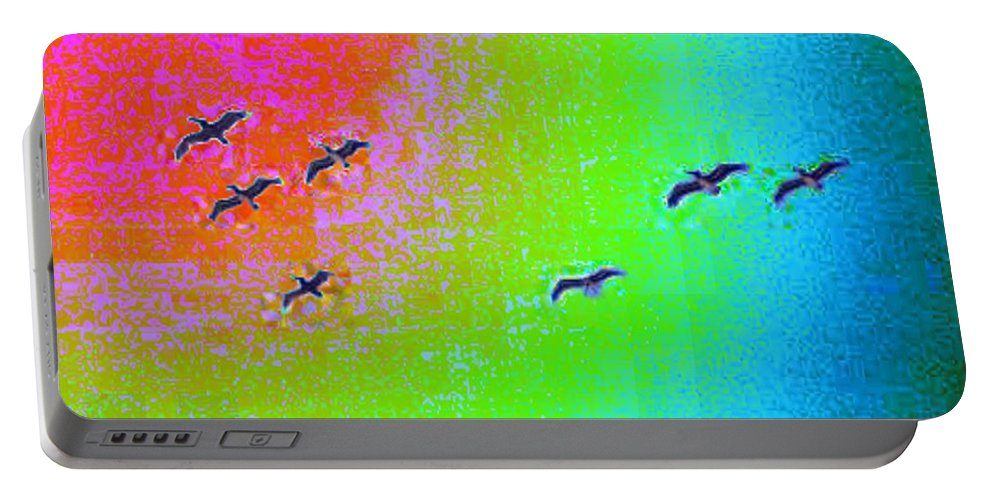 Birds Portable Battery Charger featuring the photograph Rainbow Gulls by Tim Allen