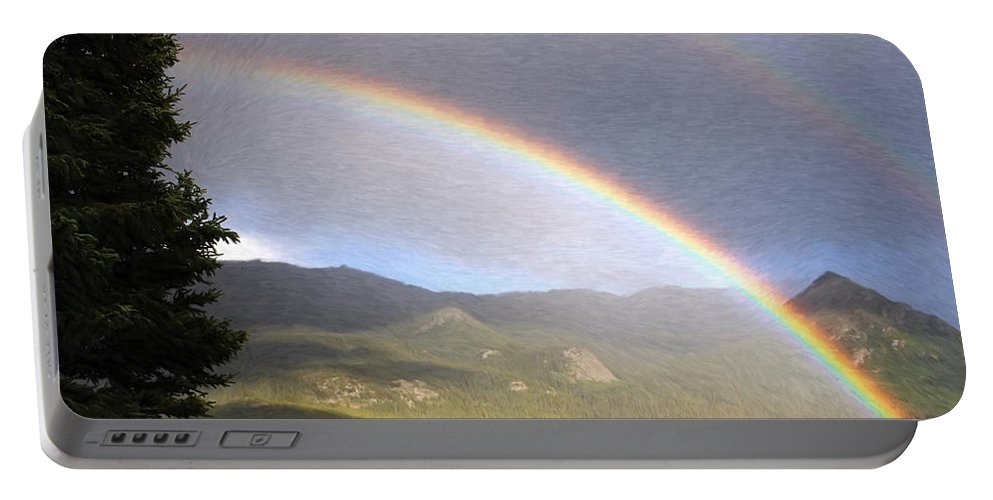 Arch Portable Battery Charger featuring the painting Rainbow - Id 16217-152042-2683 by S Lurk