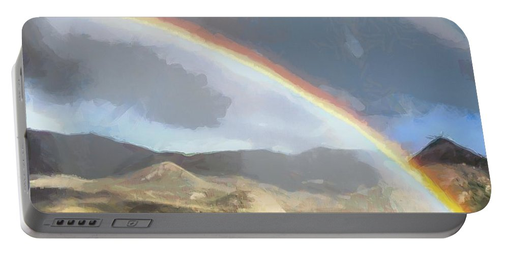 Arch Portable Battery Charger featuring the painting Rainbow - Id 16217-152048-5290 by S Lurk