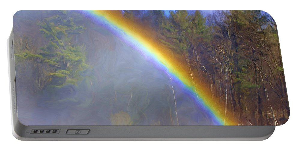 Trees Portable Battery Charger featuring the digital art Rainbow In The Mist by Deborah Benoit