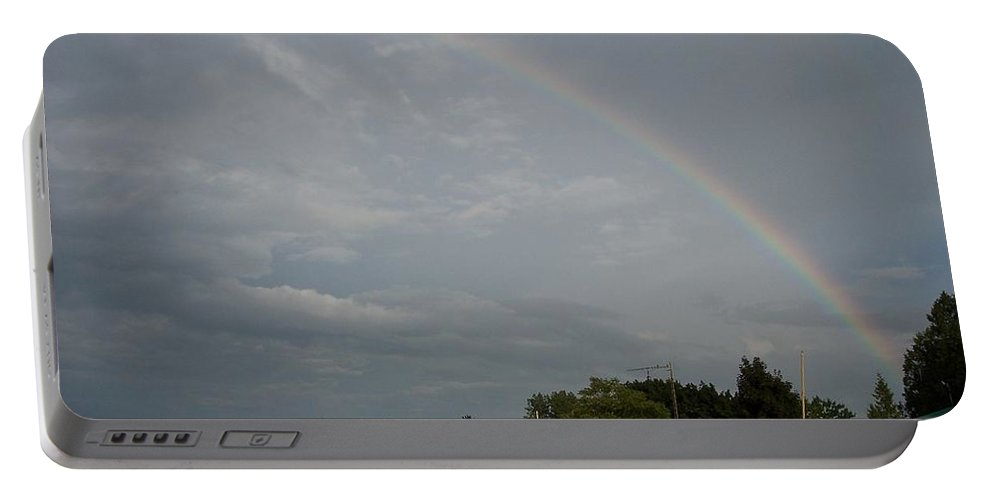 Rainbow Portable Battery Charger featuring the photograph Rainbow Over Beach Cottages by Michelle Miron-Rebbe
