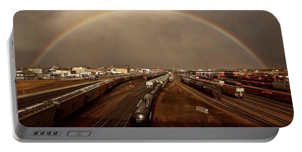 Rainbow Portable Battery Charger featuring the digital art Rainbow Over Moose Jaw Saskatchewan by Mark Duffy