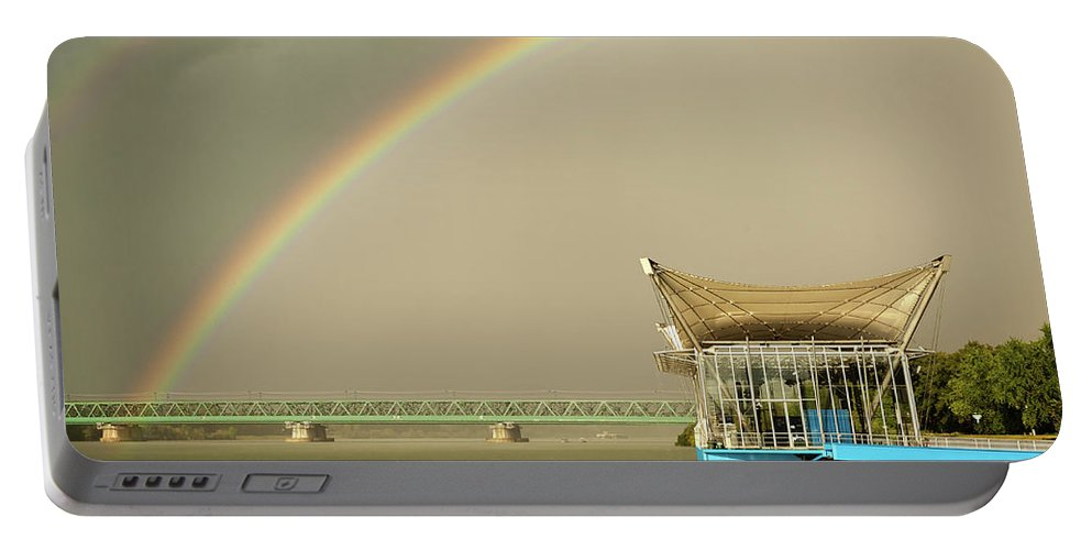 Beautiful Portable Battery Charger featuring the photograph Rainbow Over The Danube In Tulln Austria by Stefan Rotter