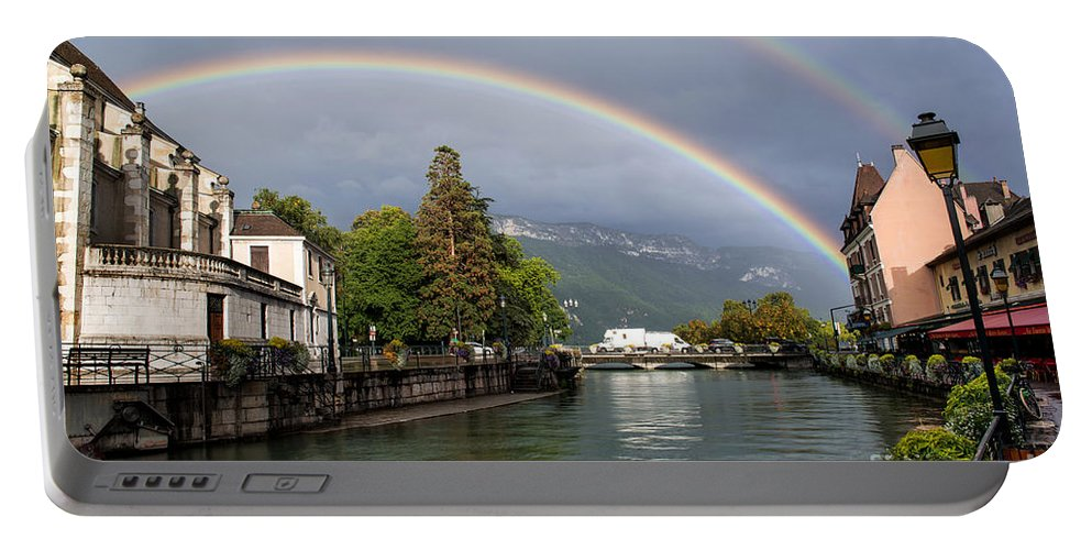 Rainbow Over Thiou River In Annecy Portable Battery Charger featuring the photograph Rainbow Over Thiou River In Annecy by Yefim Bam