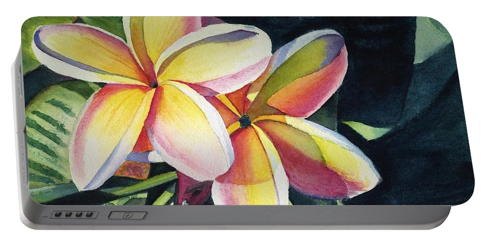Rainbow Portable Battery Charger featuring the painting Rainbow Plumeria by Marionette Taboniar