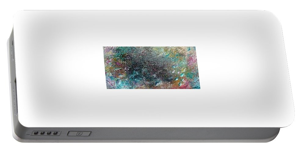 Original Abstract Painting Of Under The Sea Portable Battery Charger featuring the painting Rainbow Reef by Karin Dawn Kelshall- Best