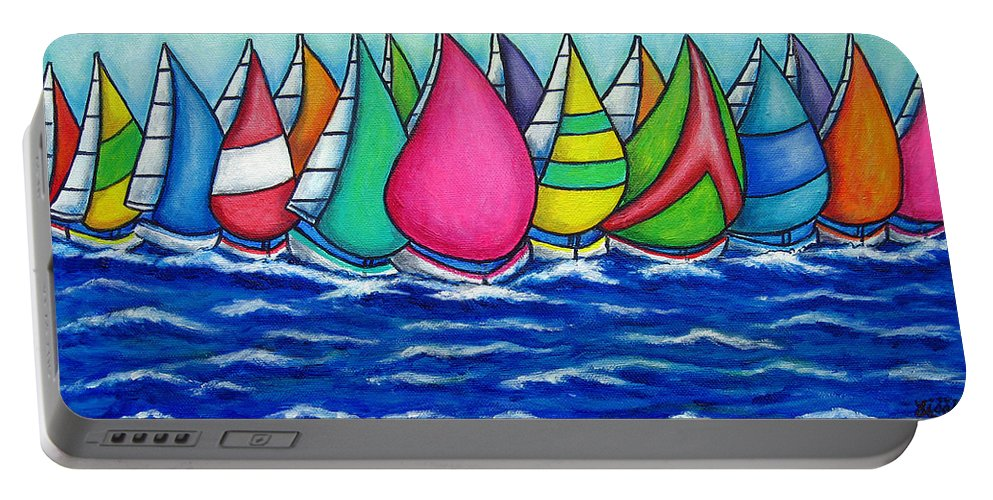 Boats Portable Battery Charger featuring the painting Rainbow Regatta by Lisa Lorenz