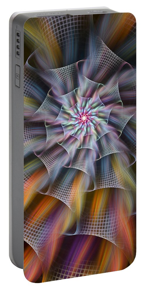 Fractal Portable Battery Charger featuring the digital art Rainbow Ribbons by Amorina Ashton