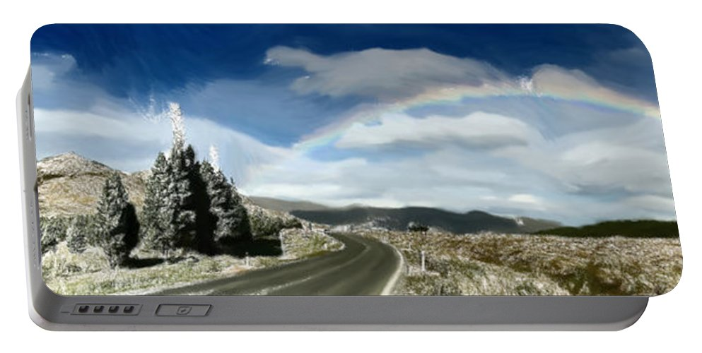 Roadway Portable Battery Charger featuring the painting Rainbow Road - Id 16217-152042-9570 by S Lurk