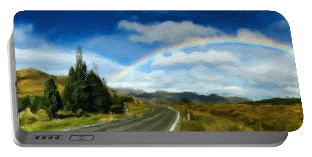 Roadway Portable Battery Charger featuring the painting Rainbow Road - Id 16217-152055-0118 by S Lurk