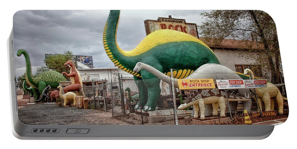 66 Portable Battery Charger featuring the photograph Rainbow Rock Shop Dino by Diana Powell