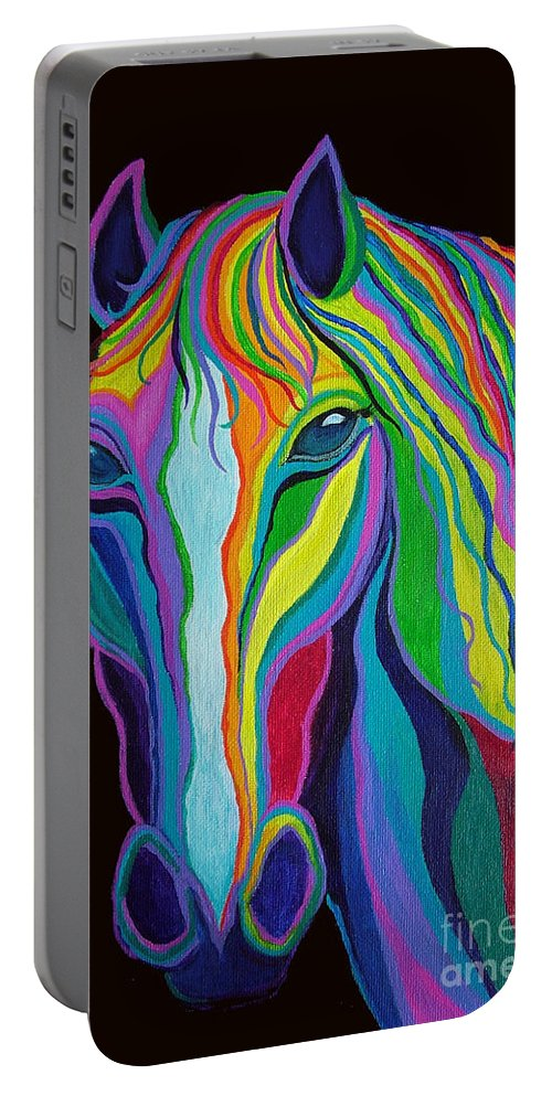 Horse Portable Battery Charger featuring the painting Rainbow Stallion by Nick Gustafson
