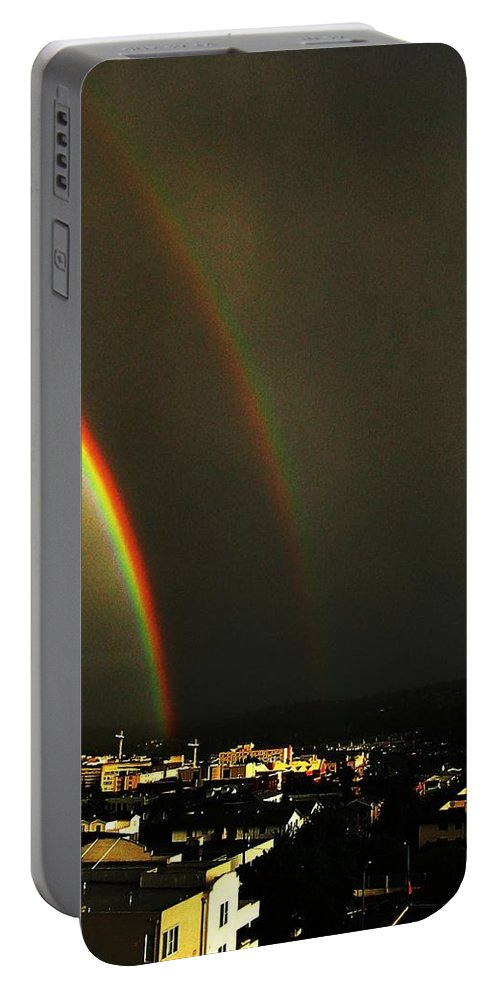 Seattle Portable Battery Charger featuring the photograph Rainbow by Tim Allen